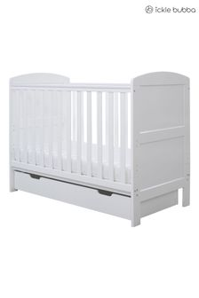 White Coleby Mini Cot Bed and Under Drawer by Ickle Bubba