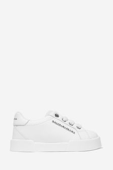 Boys White Leather Logo Trainers