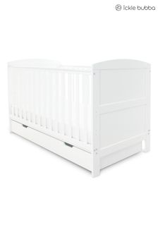 White Coleby Classic Cot Bed and Under Drawer by Ickle Bubba