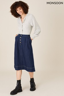 Monsoon Blue Denim Midi Skirt In Organic Cotton