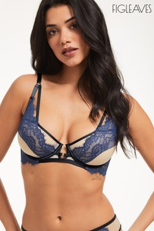 Figleaves Blue Amelie Peep Strapping Underwired Balcony Bra