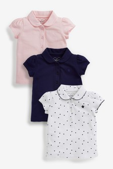 Pink/Navy/White 3 Pack Polo Tops (3mths-7yrs)