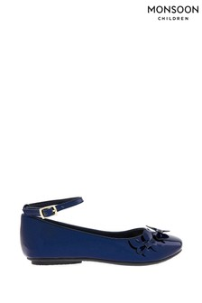 Monsoon Navy Patent Butterfly Ballerinas