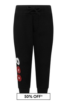 Kids Black Cotton Logo Joggers