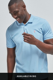 Light Blue Regular Fit Pique Poloshirt