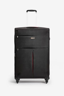 Black/Red Large Soft Shell Suitcase