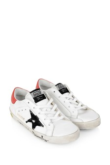 Kids White Leather Signature Superstar Trainers
