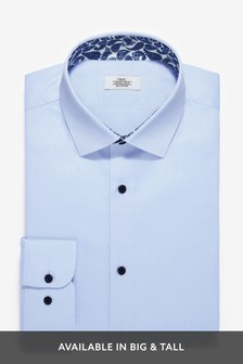 Light Blue Regular Fit Single Cuff Cotton Shirt with Paisley Trim Detail