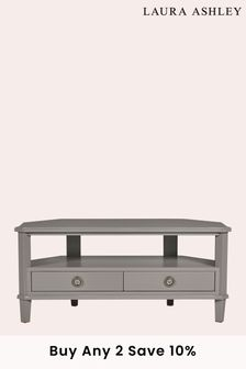 Pale Charcoal Henshaw Pale Charcoal 2 Drawer Corner Tv Unit by Laura Ashley