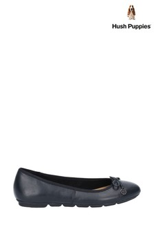 Hush Puppies Black Abby Bow Ballet Slip-On Pump Shoes