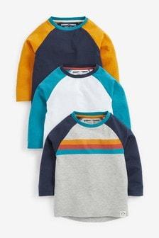 Rust/Navy 3 Pack Raglan Long Sleeve T-Shirts (3mths-7yrs)