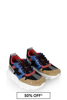 Boys Black Blue And Red Trainers