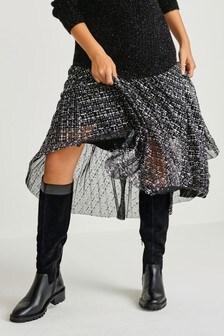 Silver Print Pleat Midi Skirt
