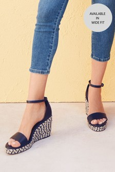 Monochrome Two Part Espadrille Wedges