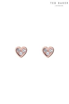 Ted Baker Rose Gold Neena Nano Heart Stud Earrings