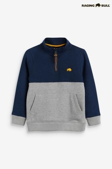 Raging Bull Grey Boys 1/4 Zip Sweat Top