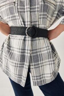 Black Raffia Wide Belt