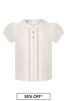Paz Rodriguez Cream Cotton Blouse