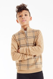 Tan Check Zip Neck Knitted Jumper (3-16yrs)