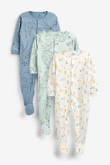 Blue 3 Pack Sloth Sleepsuits (0mths-2yrs)