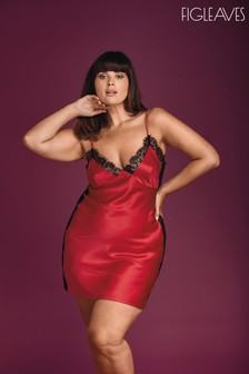 Figleaves Red Marilyn Lace Panel Satin Chemise