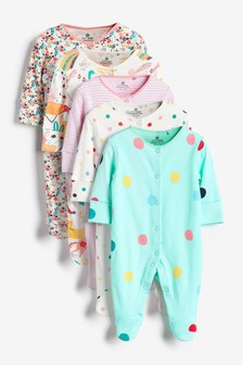 Bright Prints 5 Pack Sleepsuits (0-2yrs)