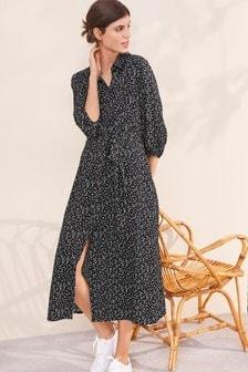 Black Heart Print Midi Shirt Dress