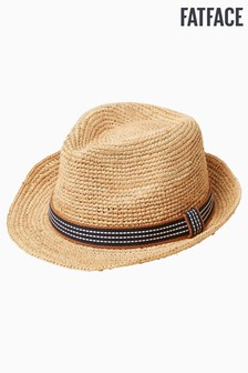 FatFace Natural Stripe Band Trilby Hat