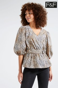 F&F Multi Brown Animal Poplin Wrap Top
