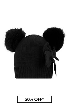 Girls Black Knitted Pom Pom Hat