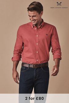 Crew Clothing Red Long Sleeve Slim Oxford Shirt