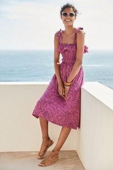 Pink Print Shirred Sun Dress