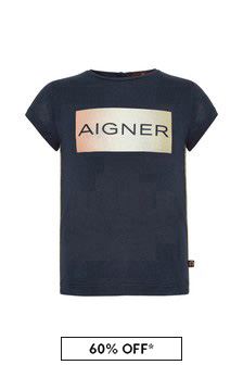 Aigner Baby Girls Navy Cotton Girls T-Shirt