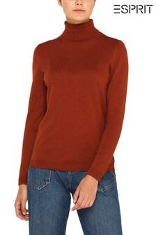 Esprit Rust Knitted Roll Neck Cotton Jumper