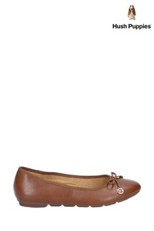 Hush Puppies Brown Abby Bow Ballet Slip-On Pump Shoes