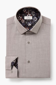 Neutral Regular Fit Single Cuff Trim Detail Shirt