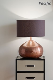Melville Antique Copper Metal Pot Table Lamp by Pacific