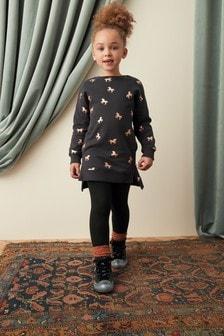Black Glitter Unicorn Jumper Dress (3-16yrs)