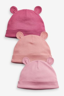 Pink 3 Pack Beanie Hats (Younger)