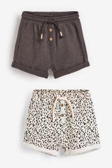 Monochrome 2 Pack Sweat Shorts (3mths-7yrs)