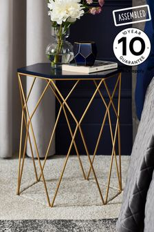 Navy Gold Hexagon Side Table / Bedside
