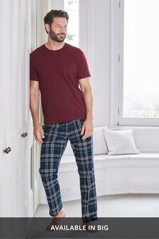 Burgundy/Navy Check Cosy Pyjama Set