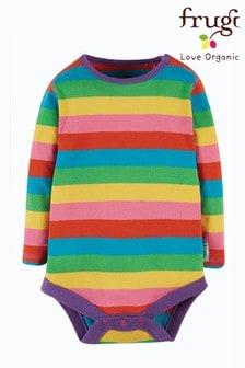 Frugi Pink GOTS Organic Long Sleeve Bodysuit Pink Rainbow Stripe