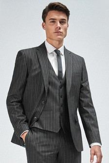 Black Slim Fit Stripe Suit: Jacket