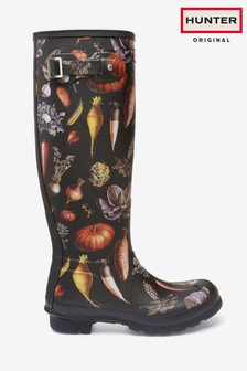 Hunter Womens Black Original Tall Multi Veg Print Wellington Boots