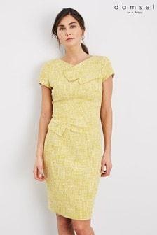 Damsel In A Dress Yellow Demelza Tweed Dress
