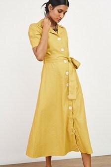 Ochre Linen Mix Shirt Dress