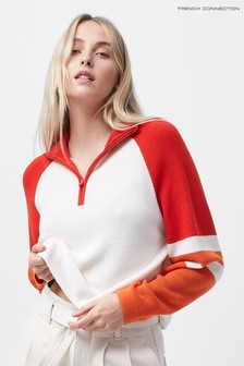 French Connection White Martha Colourblock Half Zip Jumper