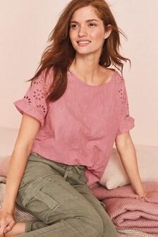 Pink Broderie Cotton T-Shirt