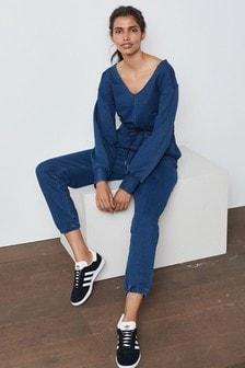 Dark Blue Soft Stretch Long Sleeve Jersey Denim Jumpsuit